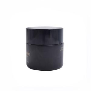 custom colored matte black glass 50g cream jars 50ml black glass jar with LOGO printing