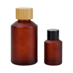 cosmetic glass bottle bamboo cap