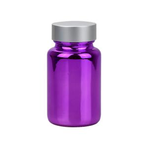 100ml electroplate purple pharmaceutical glass pill bottle for tablet