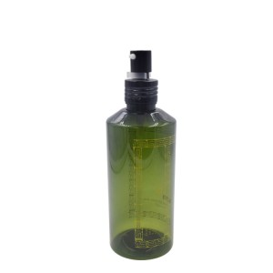 green plastic bottle with aluminum pump