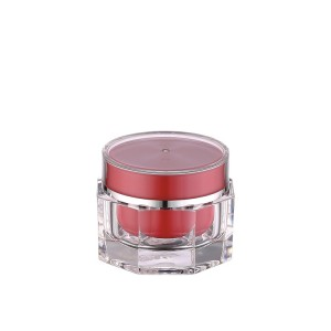 high class red white color acrylic packaging cream jar