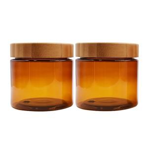 500ml amber plastic jar bamboo lid