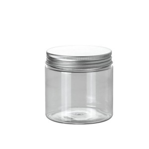 100ml clear plastic jar container with aluminum screw cap